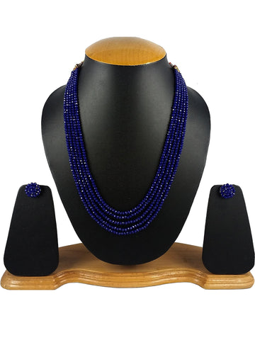 Royal Blue Crystal Beads Multi-Strand Necklace Set