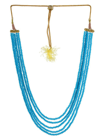 Blue Crystal Beads Multi-Strand Necklace Set
