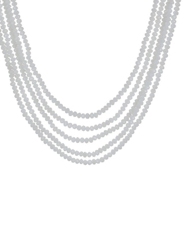 White Crystal Beads Multi-Strand Necklace Set