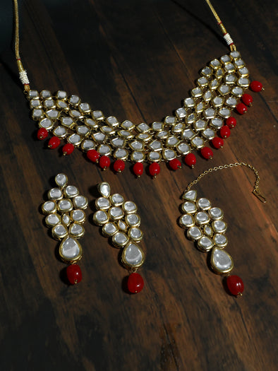 22K GoldPlated Antique Origins Kundan Ruby Tumble Choker Necklace Set