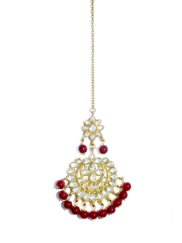 Karatcart 22K GoldPlated Partywear Traditional Kundan Red Choker Jewellery Set