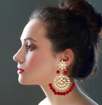 Kundan Red Drops Chandbali Earrings For Women