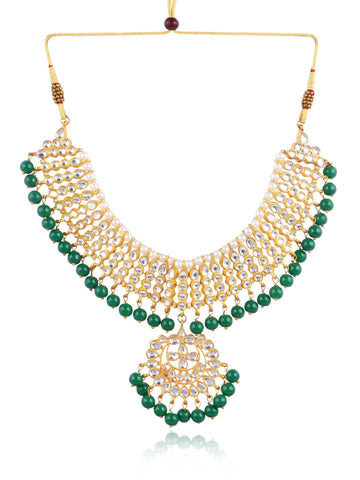 Karatcart 22K GoldPlated Partywear Traditional Kundan Pearl Green Choker Jewellery Set for Women