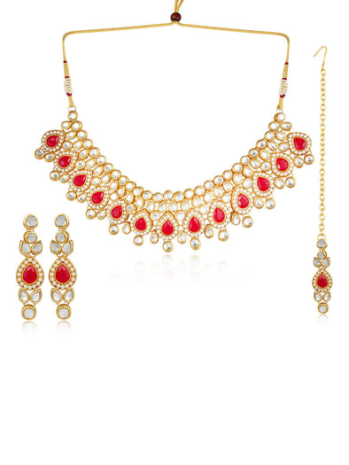 22K GoldPlated Kundan Pearl Necklace for Women