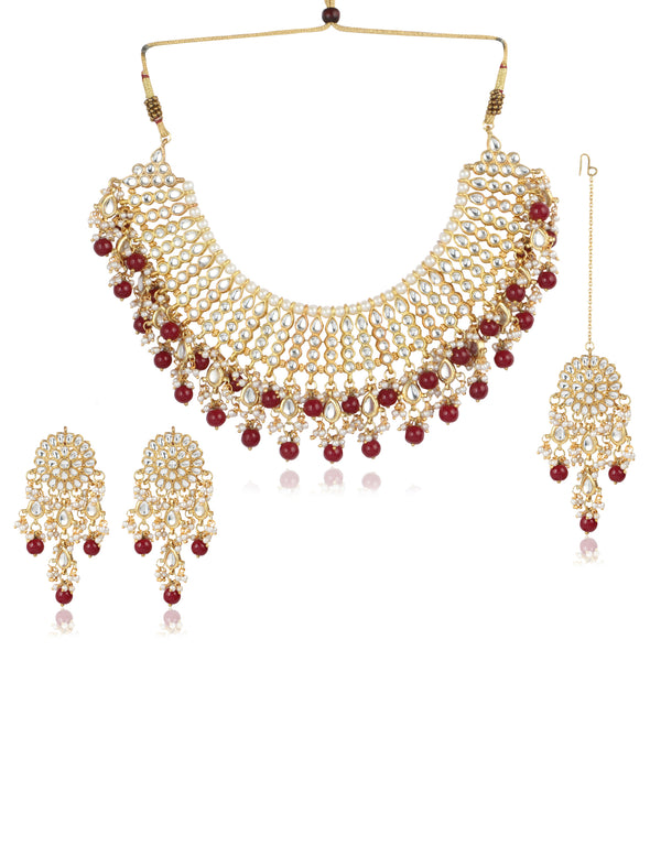 22K GoldPlated Partywear Traditional Kundan Red Choker Jewellery Set