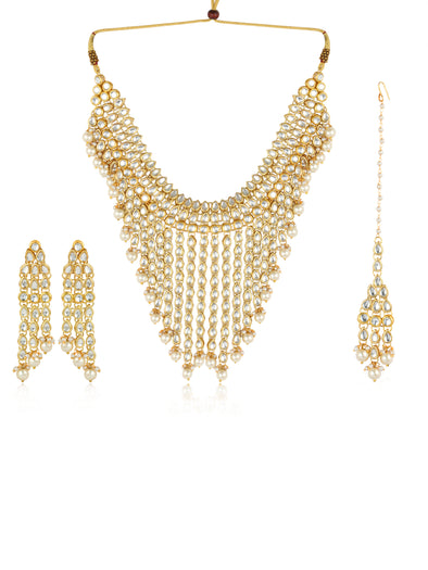 Heavy Golden Kundan Necklace with Tassels