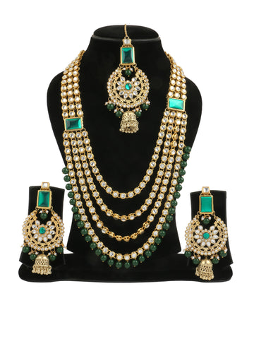Kundan Bridal Green Stone Necklace