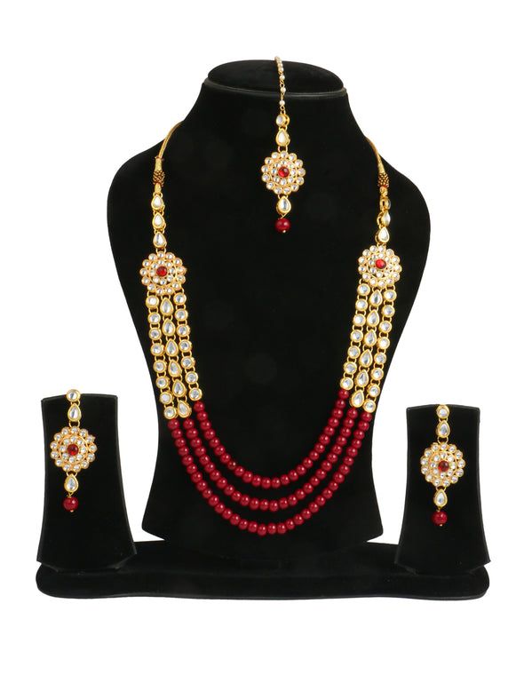 Karatcart 22K GoldPlated Kundan Rani Haar Necklace Set