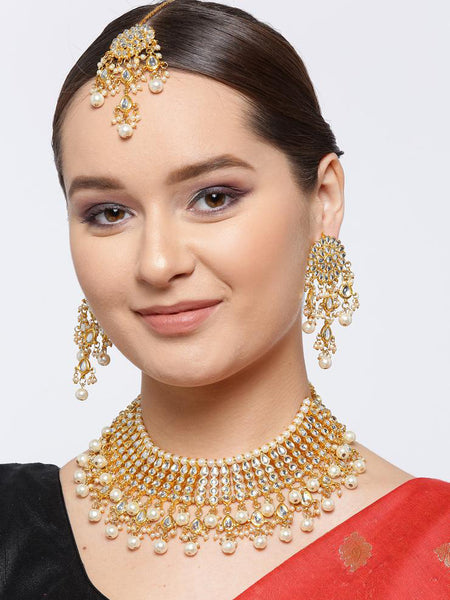 Kundan Choker Necklace with pearl tassels