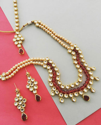 Kunuz Gold Pearls Kundan Necklace