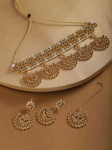 Kunuz Kundan Gold Bridal Choker Necklace with Earrings and Maangtikka