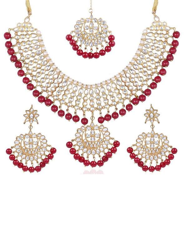 Kunuz Kundan Red Bridal Necklace Set
