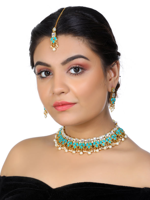Kundan Blue with White Drop Necklace Set with Earrings and Maangtikka