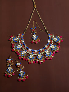 Kundan Multi Colour Necklace Set with Earrings and Maangtikka
