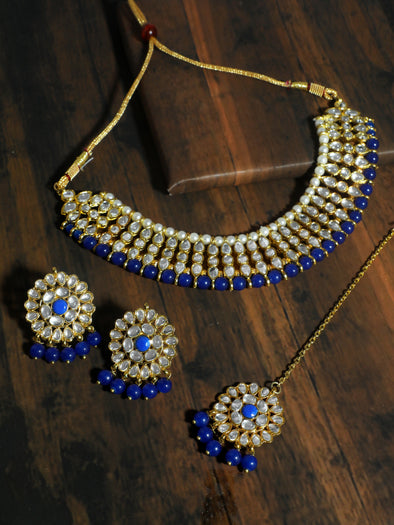 Kundan Blue Choker Necklace Set with Earrings and Maangtikka