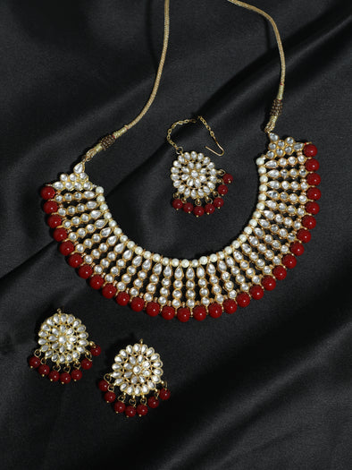 Kundan Red Choker Necklace Set with Earrings and Maangtikka
