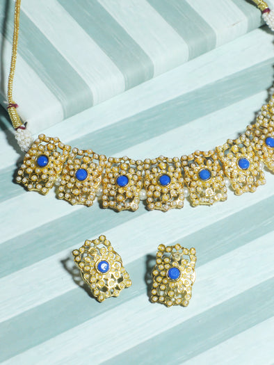 Kundan Blue Jadau Embellished Choker Necklace Set with Earrings