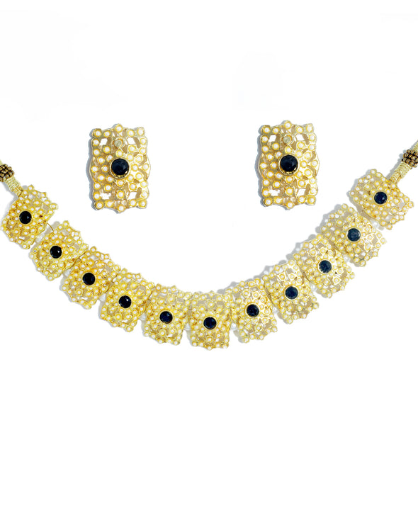 Kundan Black Jadau Embellished Choker Necklace Set with Earrings