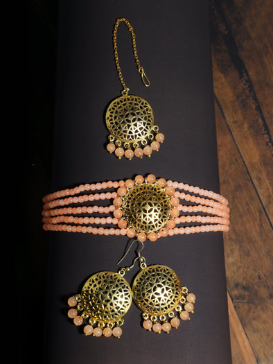 Peach Beaded Choker Necklace Set with Earrings and Maangtikka