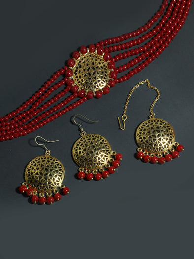 Red Beaded Choker Necklace Set with Earrings and Maangtikka
