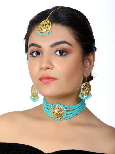 Mint Blue Beaded Choker Necklace Set with Earrings and Maangtikka
