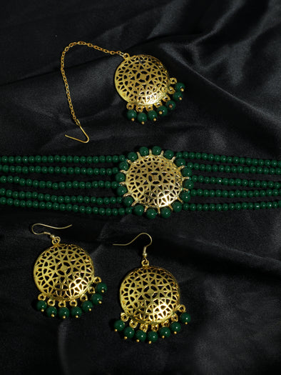 Dark Green Beaded Choker Necklace Set with Earrings and Maangtikka