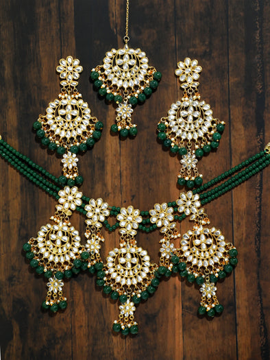 Kundan Green Beads Bridal Necklace Set with Earrings and Mangtikka