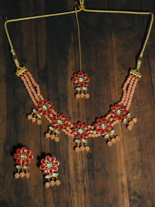 Kundan Red and Peach Beaded Choker Necklace Set with Earrings and Maangtikka