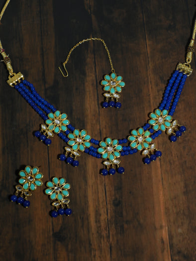 Kundan Blue Beaded Choker Necklace Set with Earrings and Maangtikka