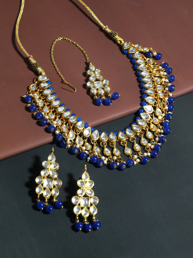 Kundan Blue Necklace Set with Earrings and Maangtikka