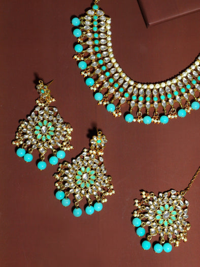 Kundan Mint Blue Choker Necklace Set with Earrings and Maangtikka