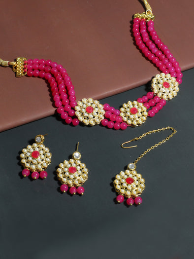 Kundan Pink Beaded Choker Necklace Set with Earrings and Maangtikka