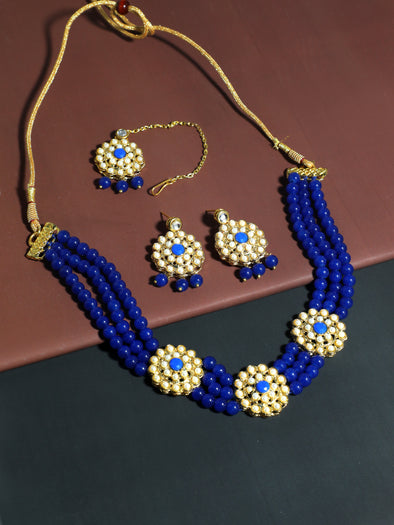 Kundan Royal Blue Beaded Choker Necklace Set with Earrings and Maangtikka