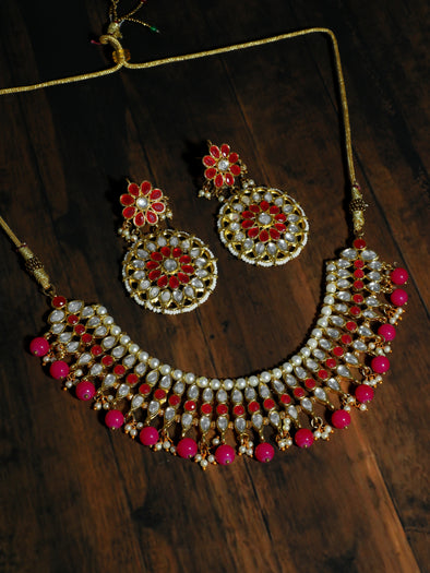 Kundan Red and Pink Embellished Choker Necklace Set with Earrings