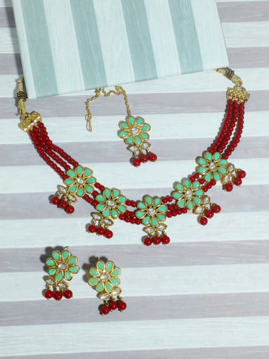 Kundan Red and Mint Green Beaded Choker Necklace Set with Earrings and Maangtikka