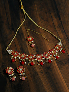 Kundan Red Necklace Set with Earrings and Maangtikka
