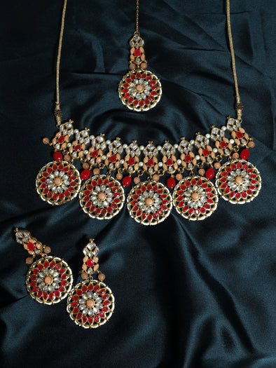 Kundan Ruby Bridal Choker Necklace Set with Earrings and Maangtikka