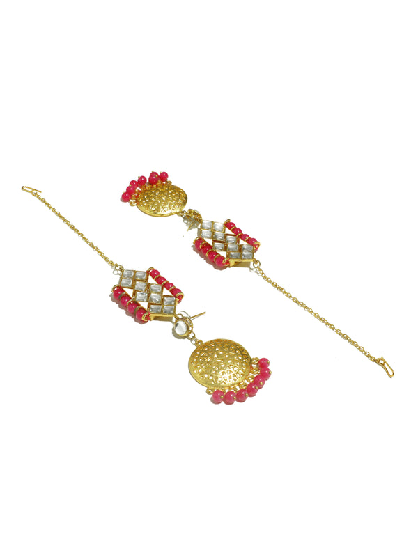 Kundan Pink Beads Choker Necklace Set with Kaanchain Earrings