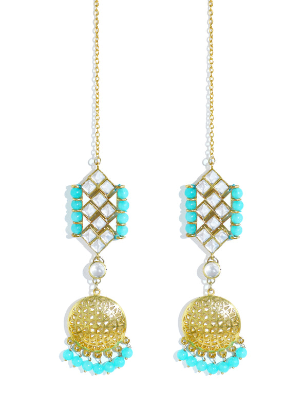 Kundan Blue Beads Choker Necklace Set with Kaanchain Earrings