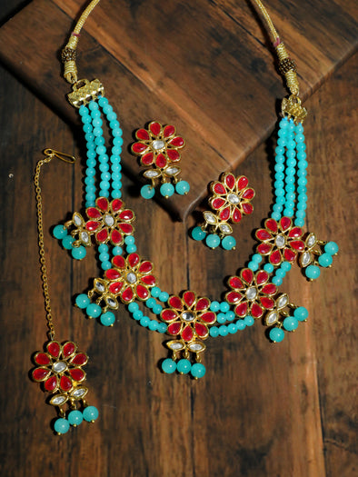 Kundan Red and Blue Beaded Choker Necklace Set with Earrings and Maangtikka
