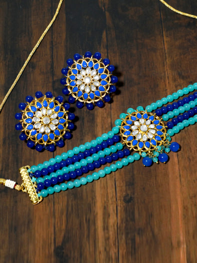 Blue Beaded Kundan Choker Necklace Set
