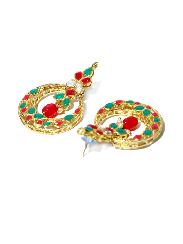 Red & Green Stone Studded Kundan Choker Necklace Set