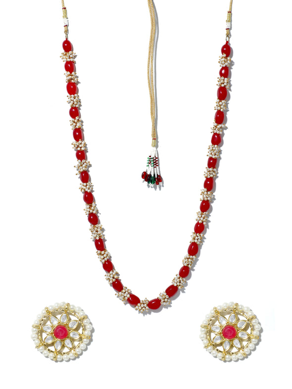 Red Beads Tassels Rani Haar Necklace Set