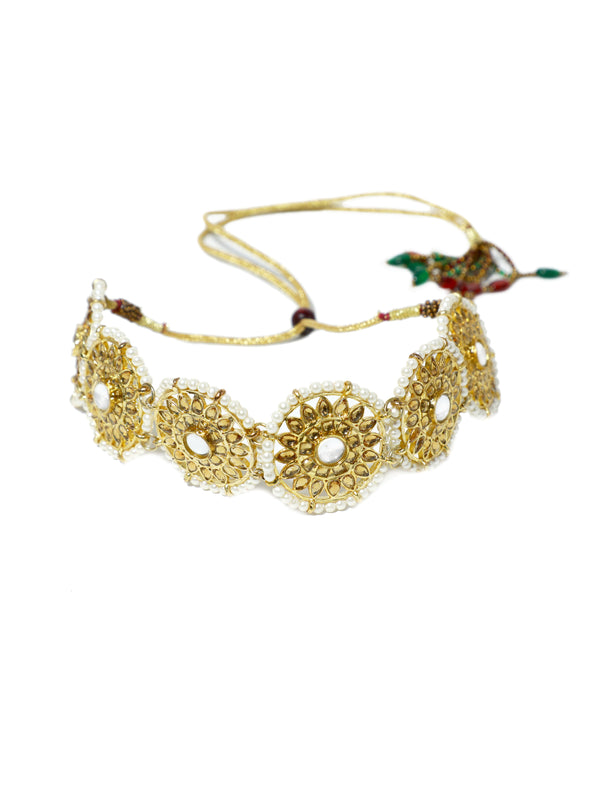 Gold Plated Kundan Choker Necklace with Earrings and Maangtikka