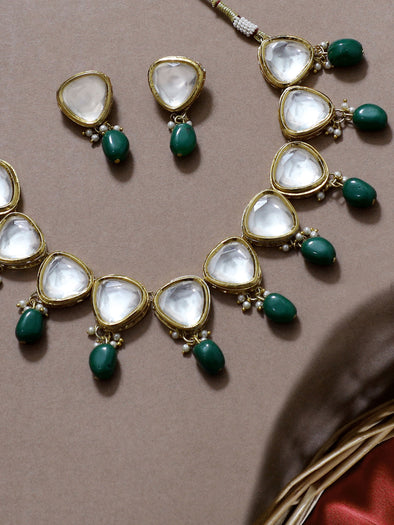 Traditional Gold Plated Green Beads Polki Kundan Choker Necklace Set with Earrings