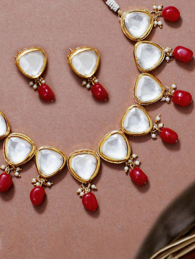 Traditional Gold Plated Red Beads Polki Kundan Choker Necklace Set with Earrings