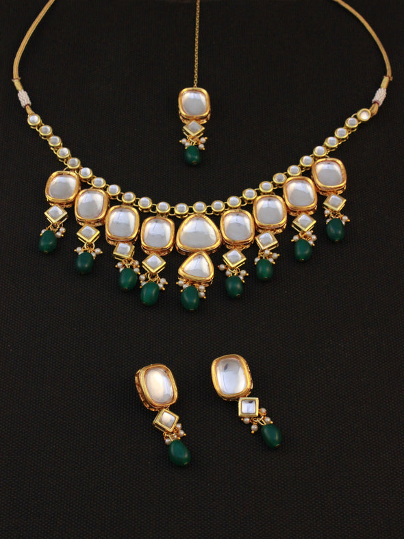 Traditional Gold Plated Green Beads Polki Kundan Choker Necklace Set with Earrings and Maangtikka