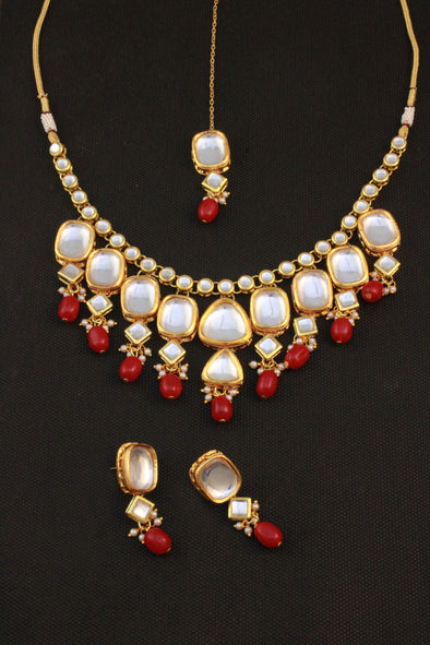Traditional Gold Plated Red Beads Polki Kundan Choker Necklace Set with Earrings and Maangtikka