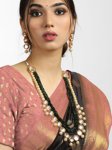 Traditional Gold Plated Green and Pearl Beads Polki Kundan Rani Haar Set with Earrings