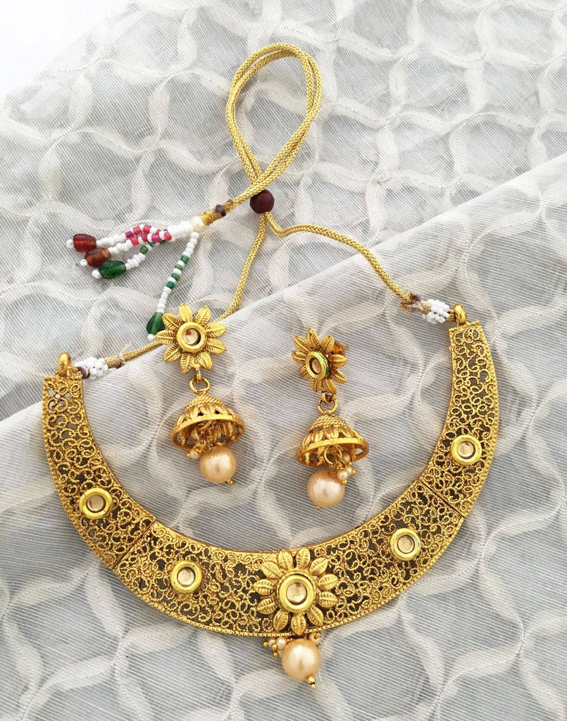 22K GOLDPLATED TRADITIONAL CHOKER JEWELLERY SET
